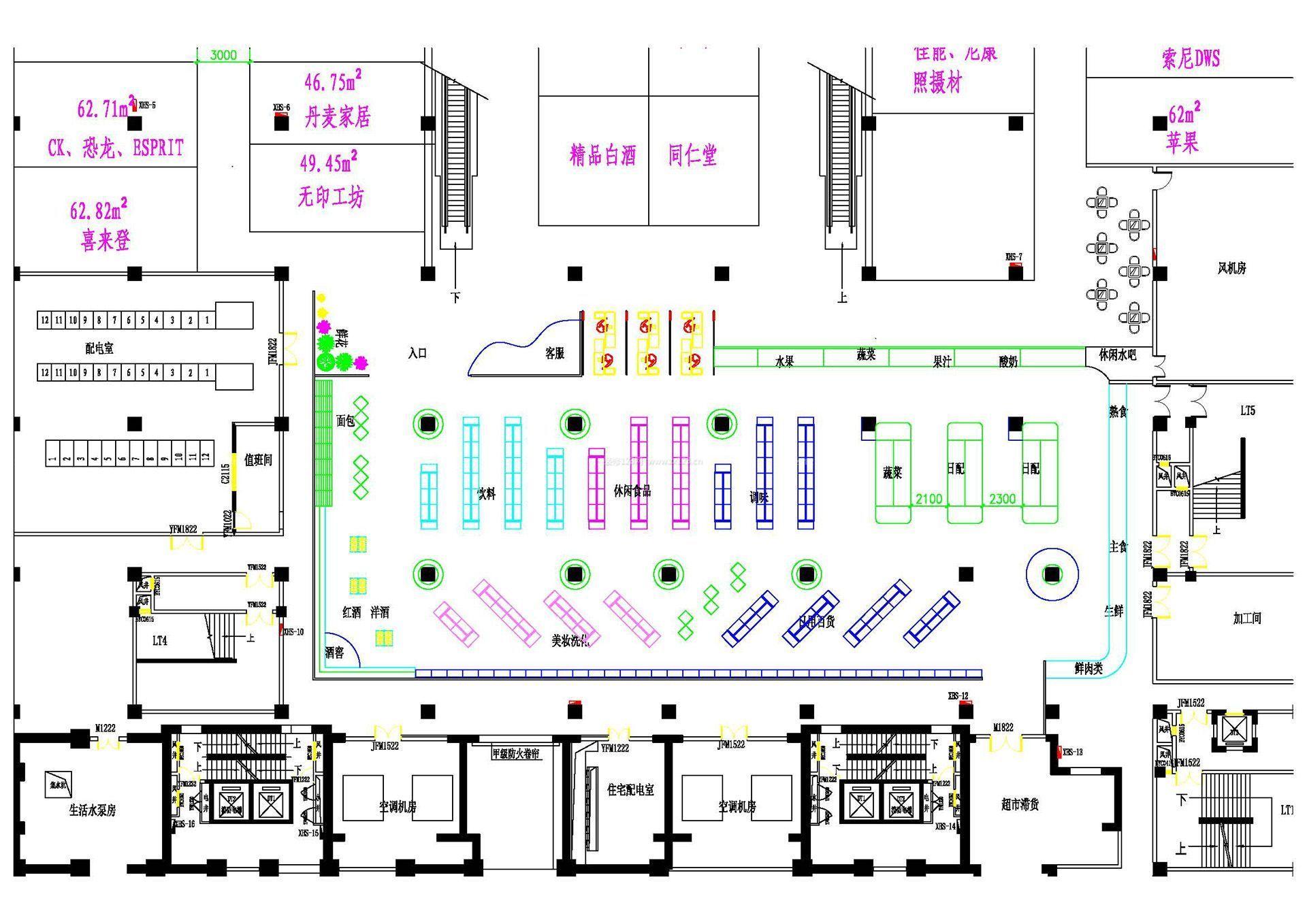 超市施工设计平面图