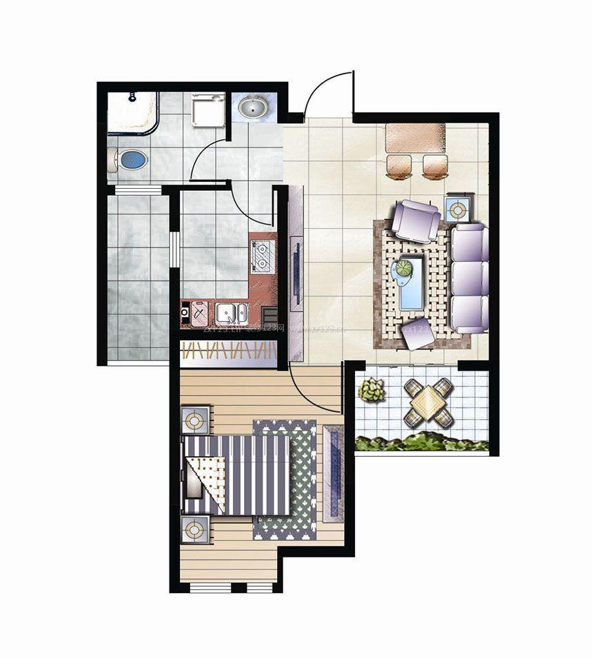 农村自建房56平方一室一厅户型图