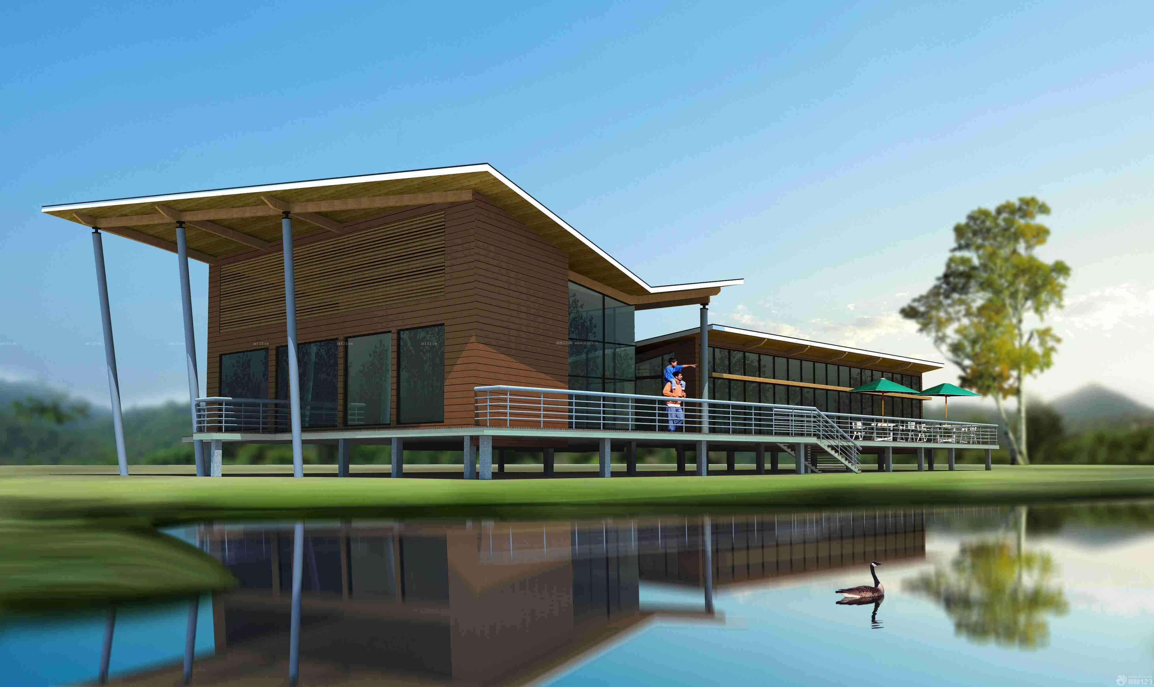 现代设计风格农村别墅外观效果图图片