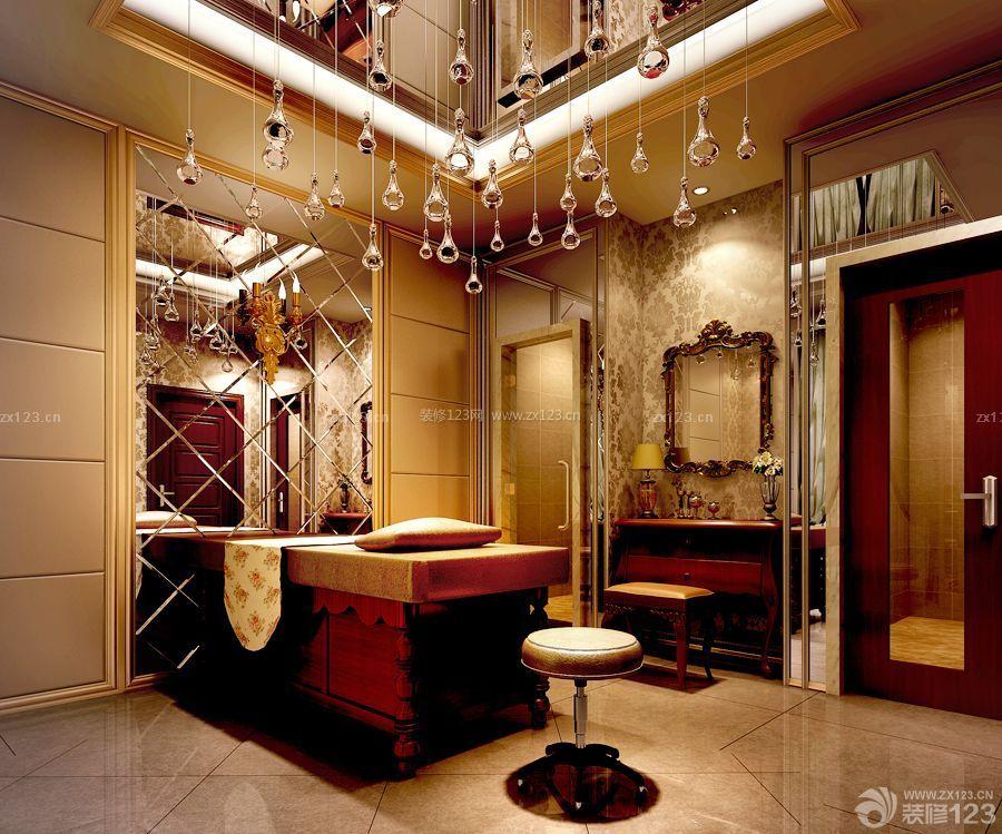 美式家装家庭式美容院镜面背景墙装饰图_装修123效果图图片