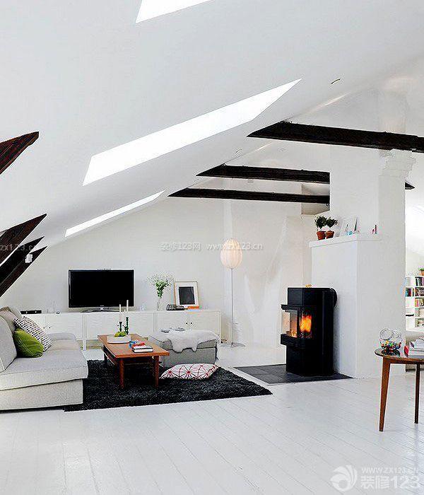 现代时尚斜顶阁楼客厅装修样板房