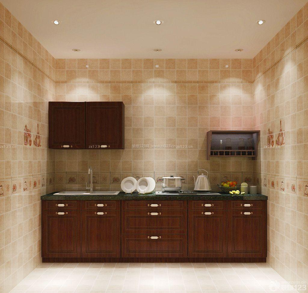 简装小厨房墙砖贴图装修样板大全_装修123效果图