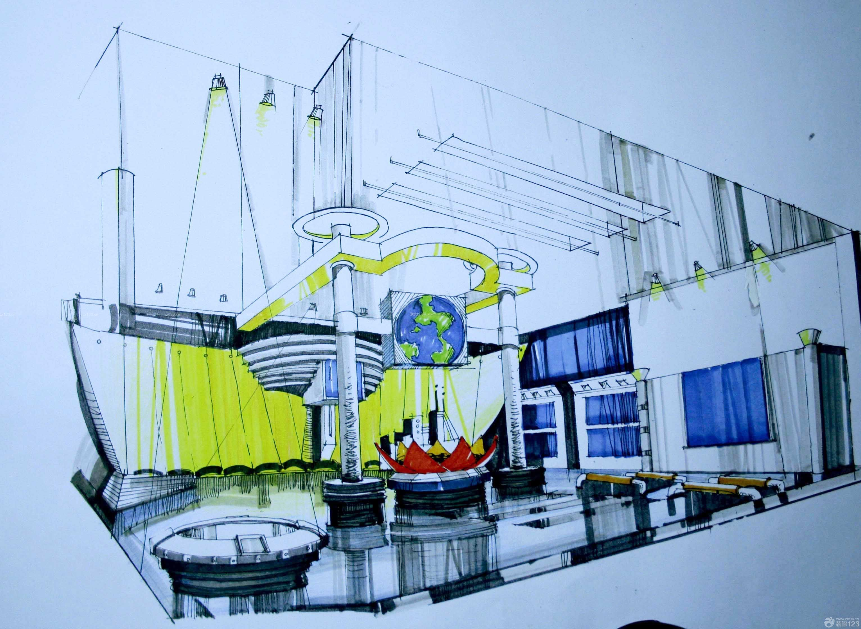 时尚科技展厅展示设计手绘效果图