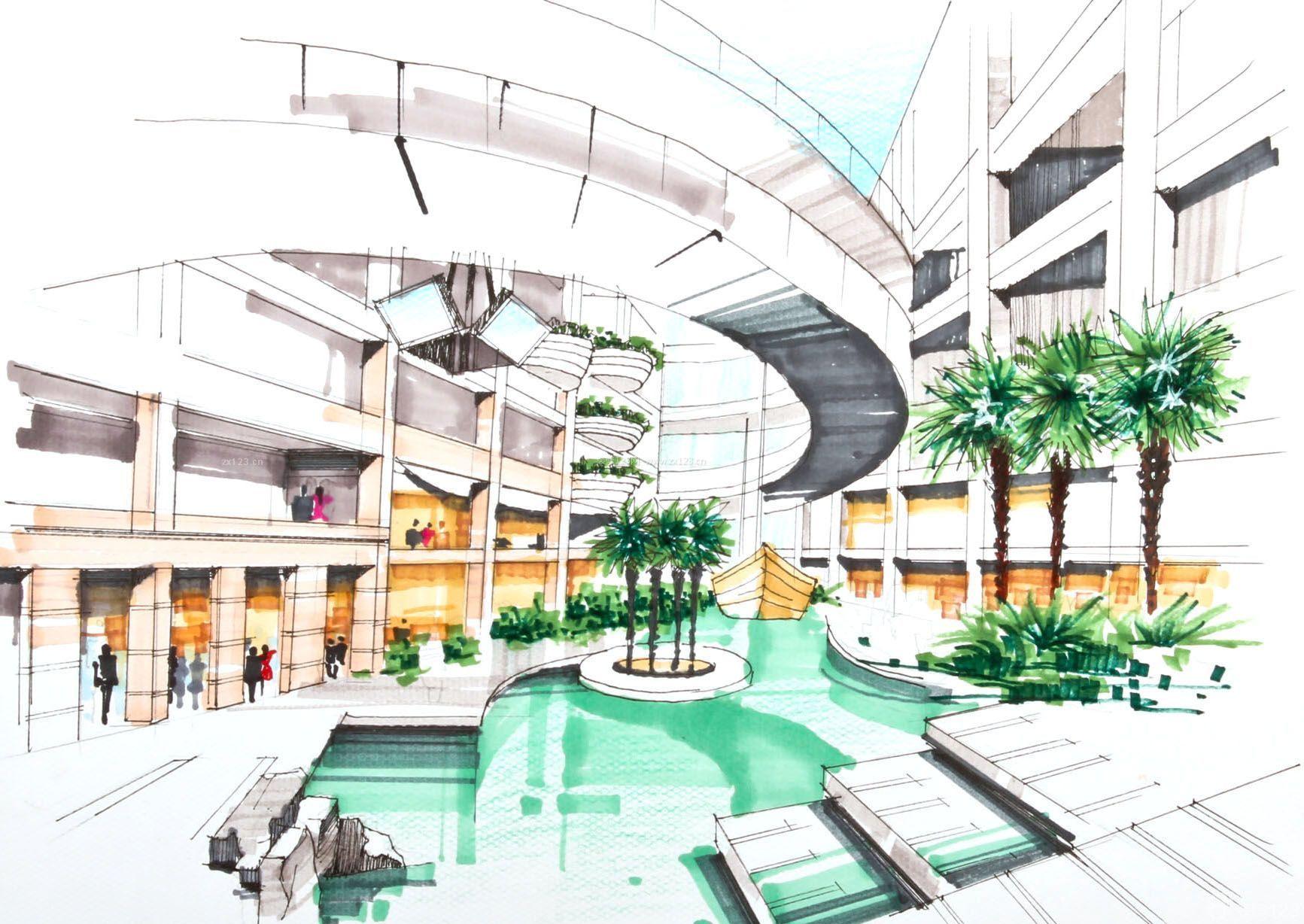 某大型商场展示设计手绘效果图