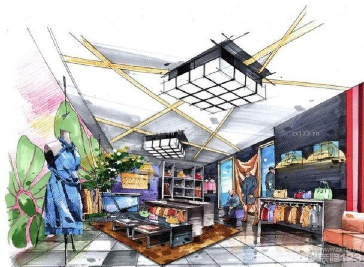 混搭品牌服装店展示设计手绘效果图