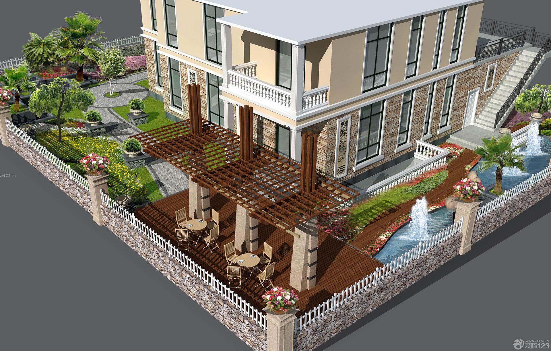 美式乡村风格别墅庭院设计实景图图片