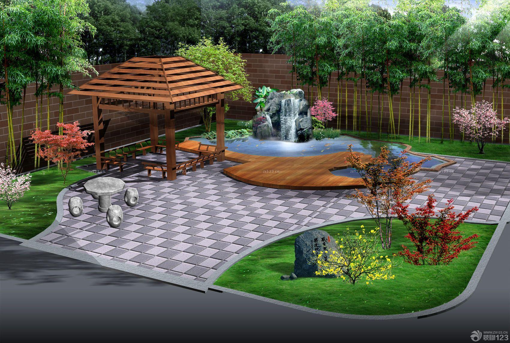 别墅庭院假山喷泉设计效果图