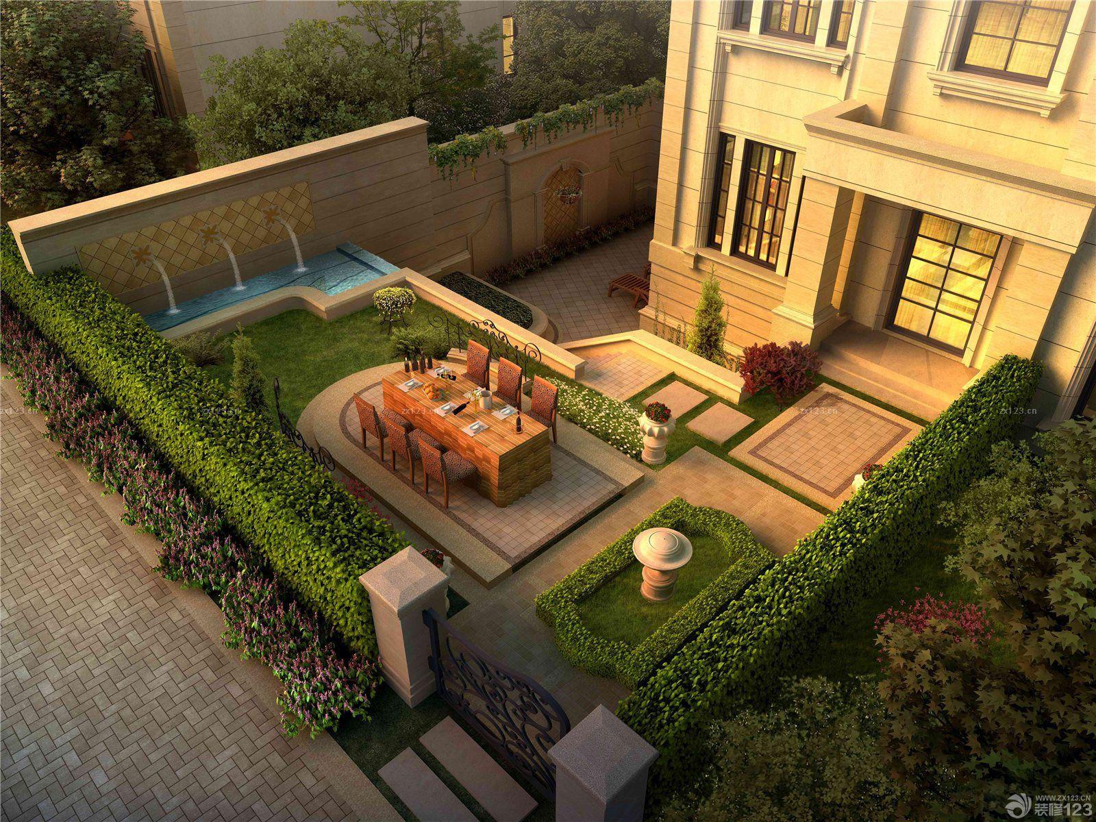 欧式新古典风格别墅庭院设计效果图