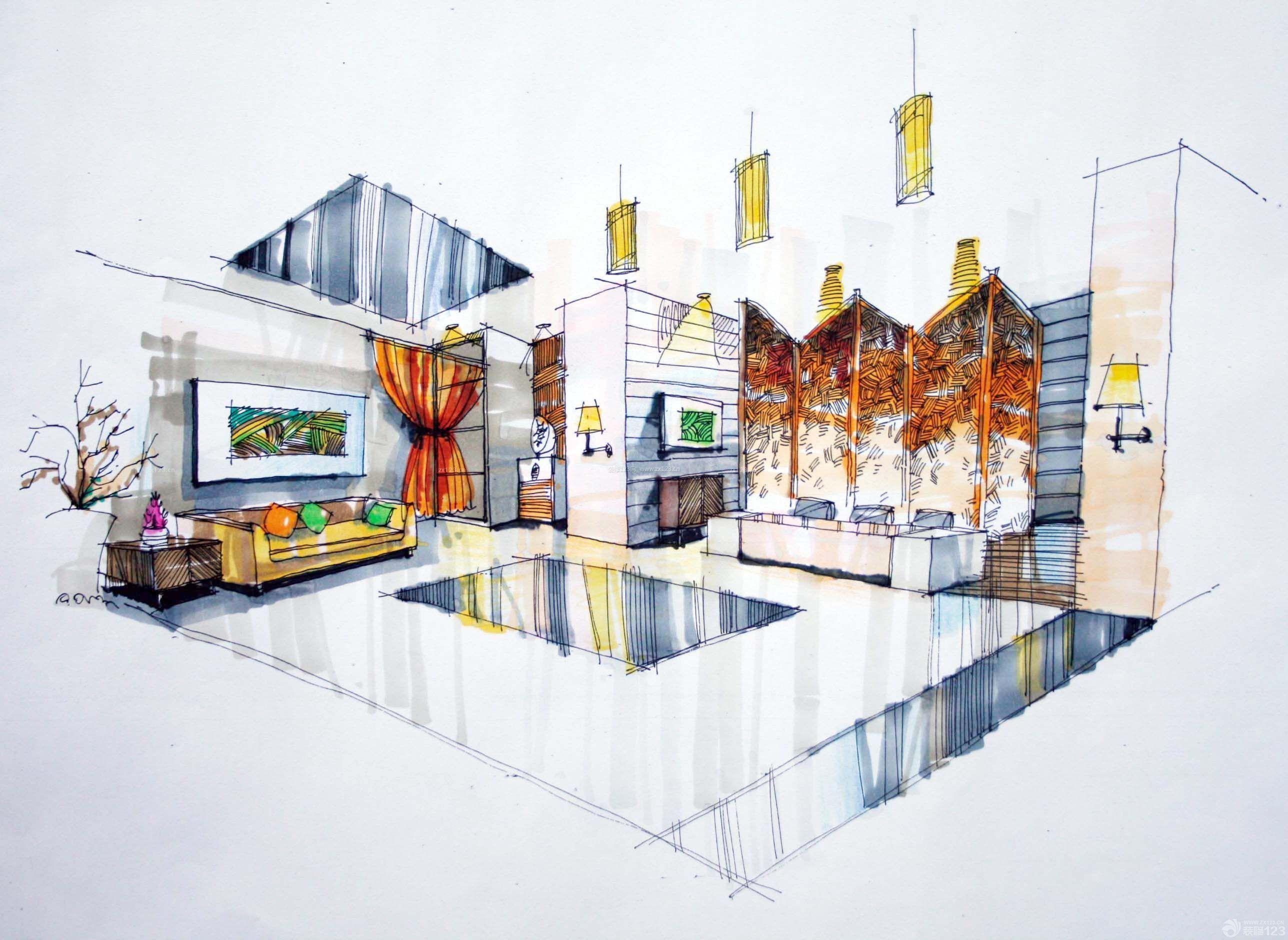 小型会所大厅展示设计手绘效果图