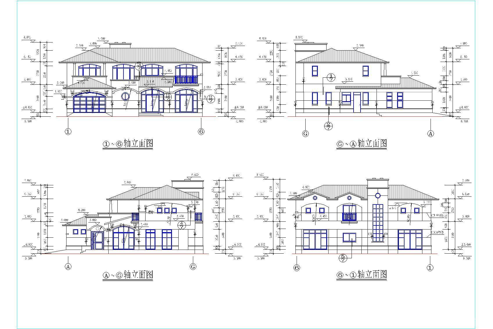 小户型别墅建筑立面图