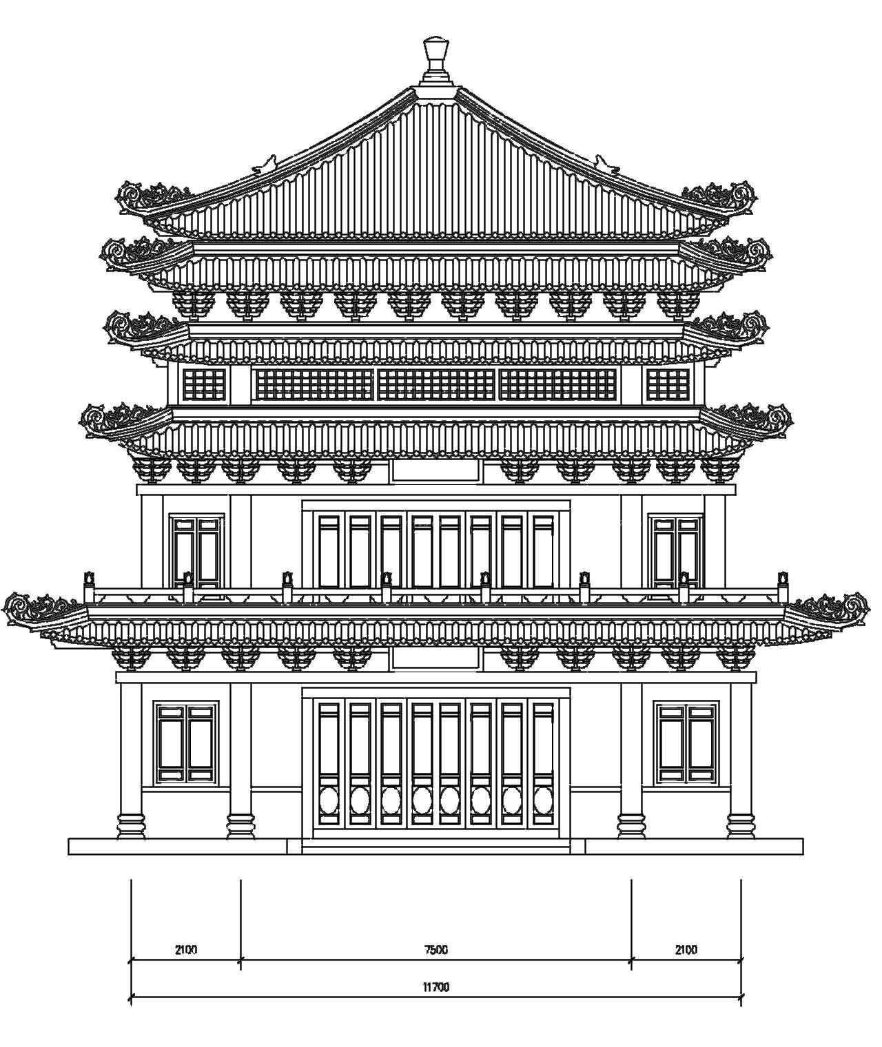 中式古典建筑立面图