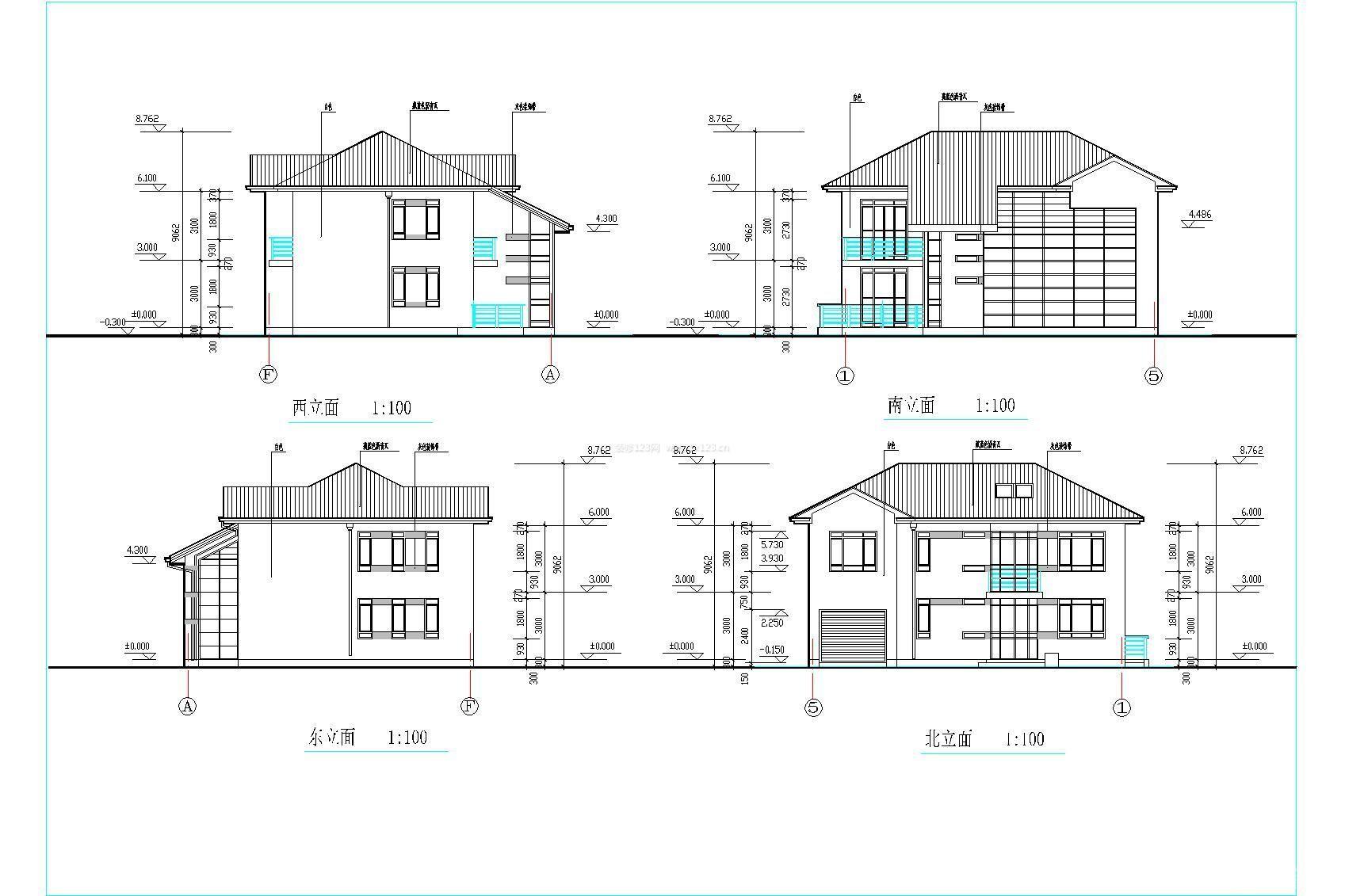 农村房屋建筑立面图设计