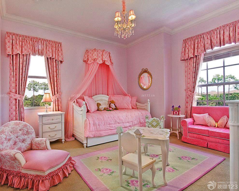 欧式儿童房女孩温馨卧室装修设计图片
