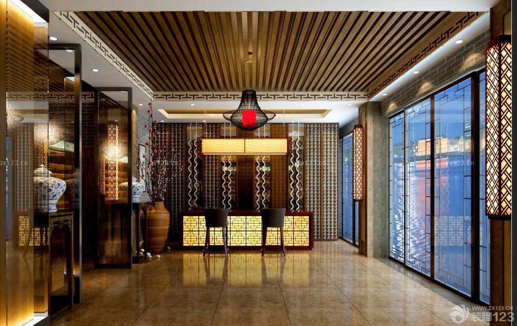 中式风格公司前台背景墙效果图图片
