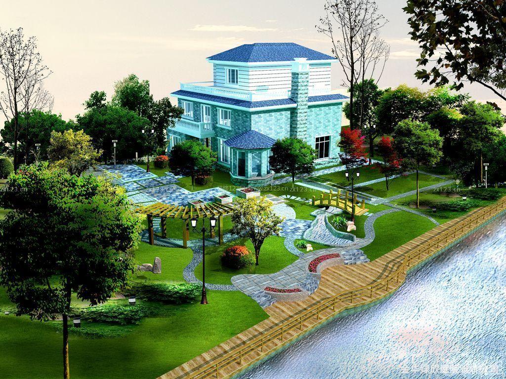 地中海风格别墅庭院景观设计效果图图片