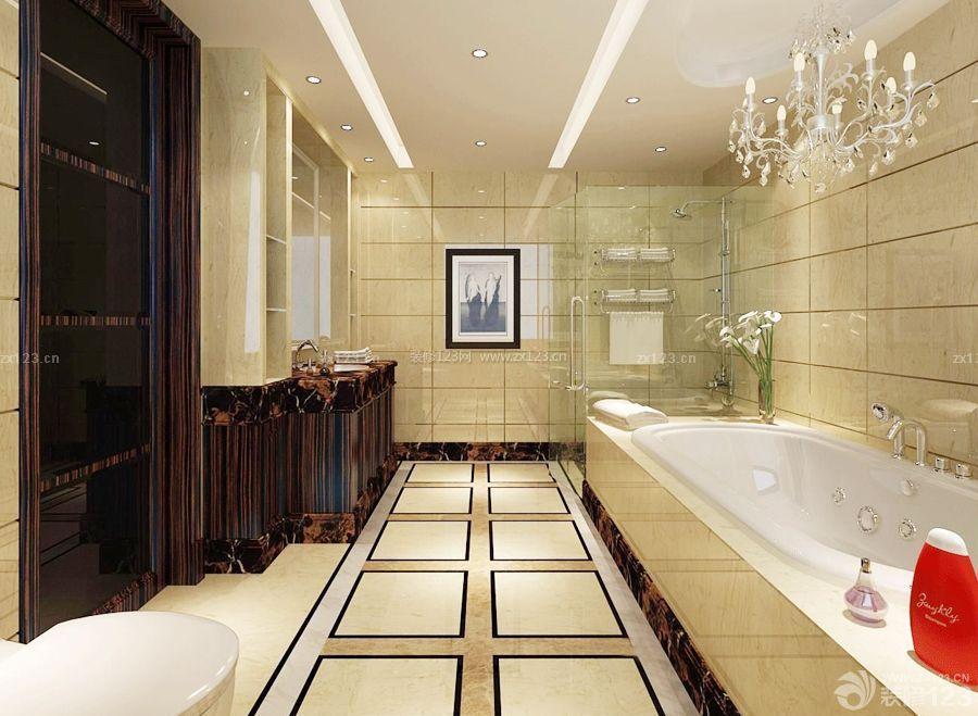 欧式卫生间大理石墙面瓷砖装修设计图