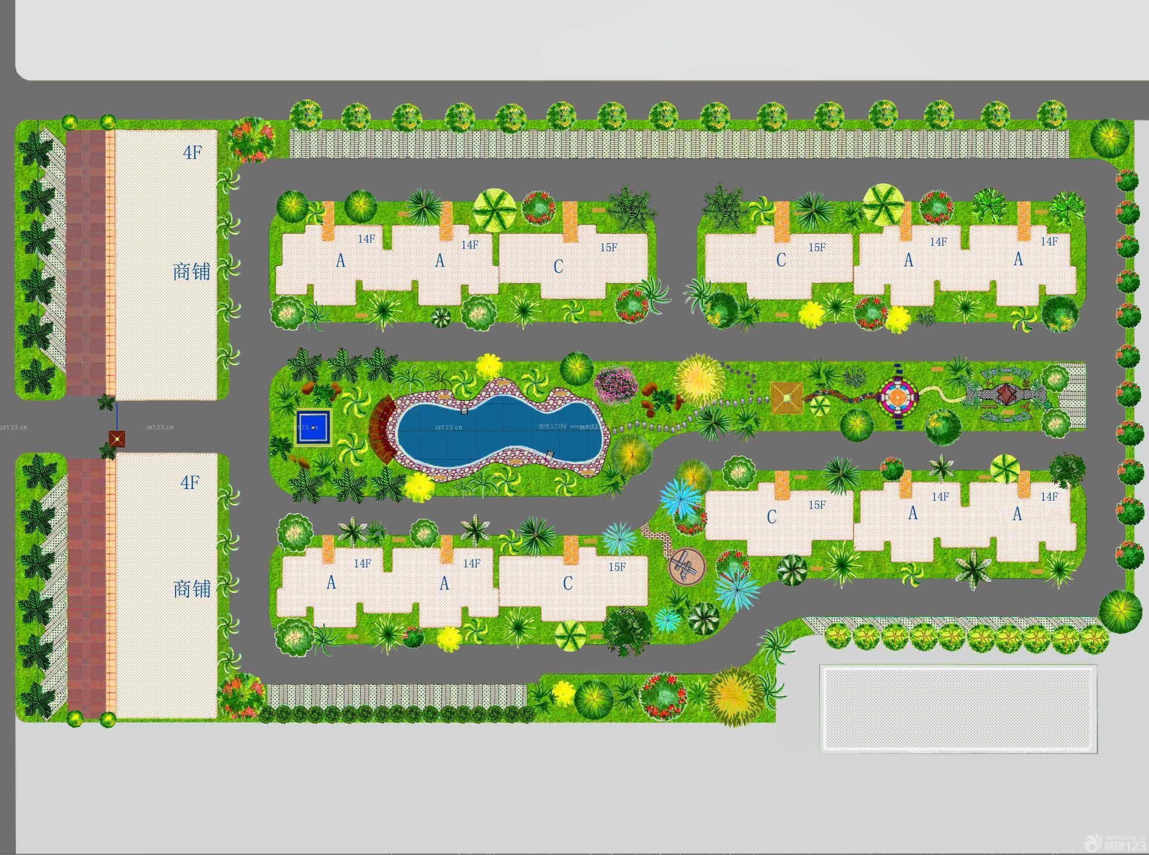 临街花坛平面图