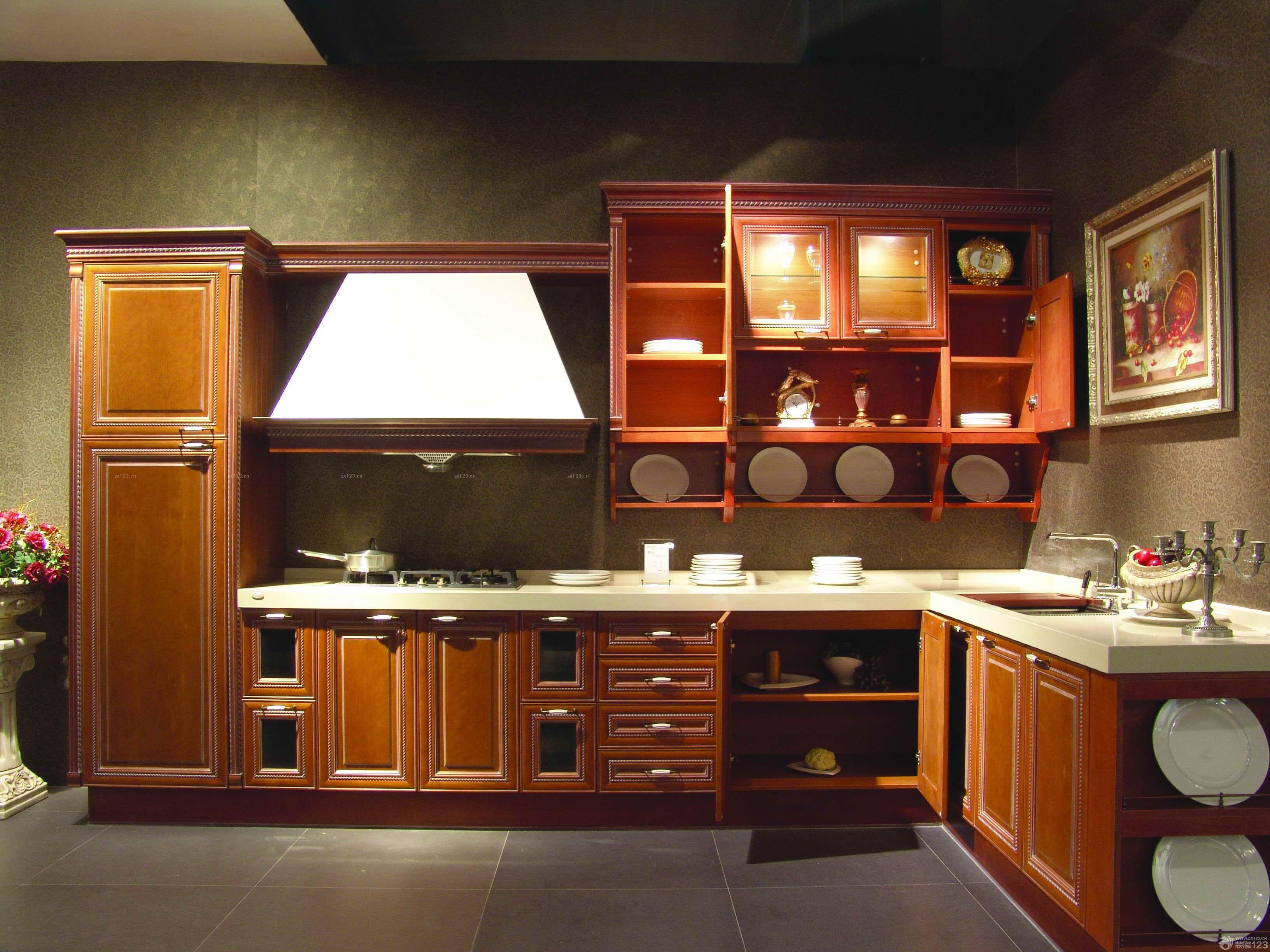 实木金牌橱柜展厅设计装修效果图图片