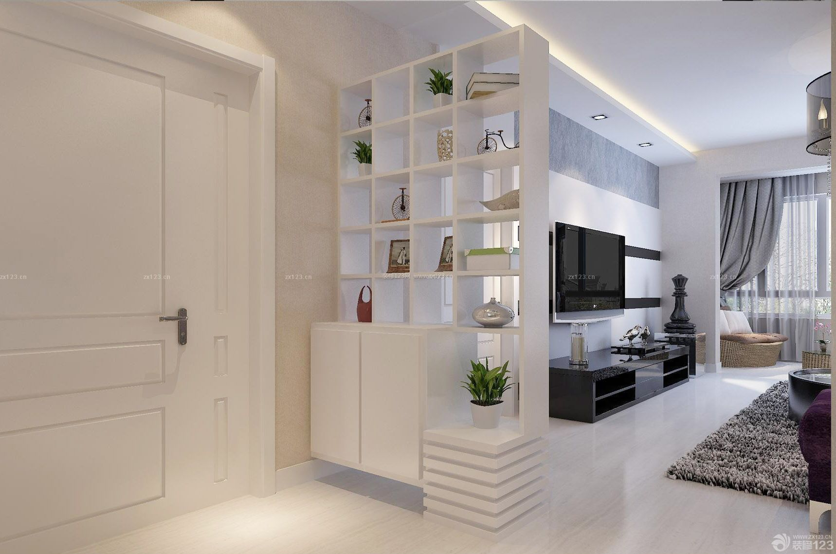 100平米房子门口玄关装修设计图 _装修123效果图