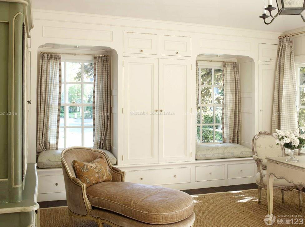 简欧风格欧式飘窗窗帘设计图 _装修123效果图图片