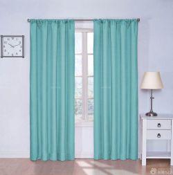 主臥飄窗青色窗簾裝潢設計圖
