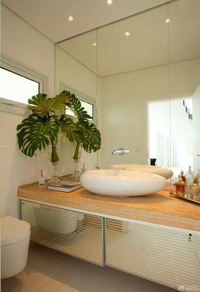 卫生间洗手盆实木台面设计效果图