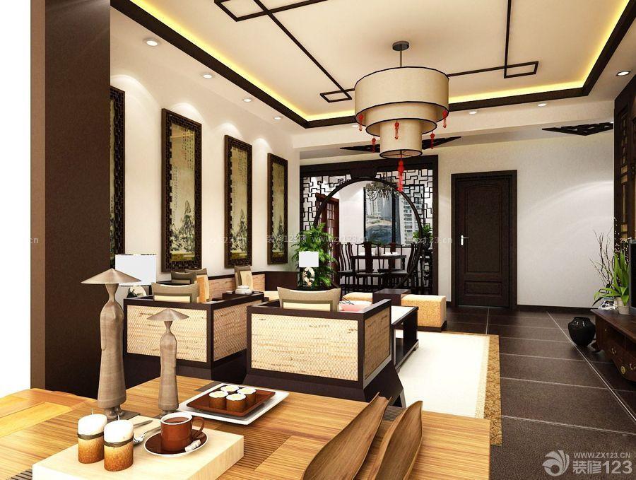 新中式风格门洞设计客厅样板间