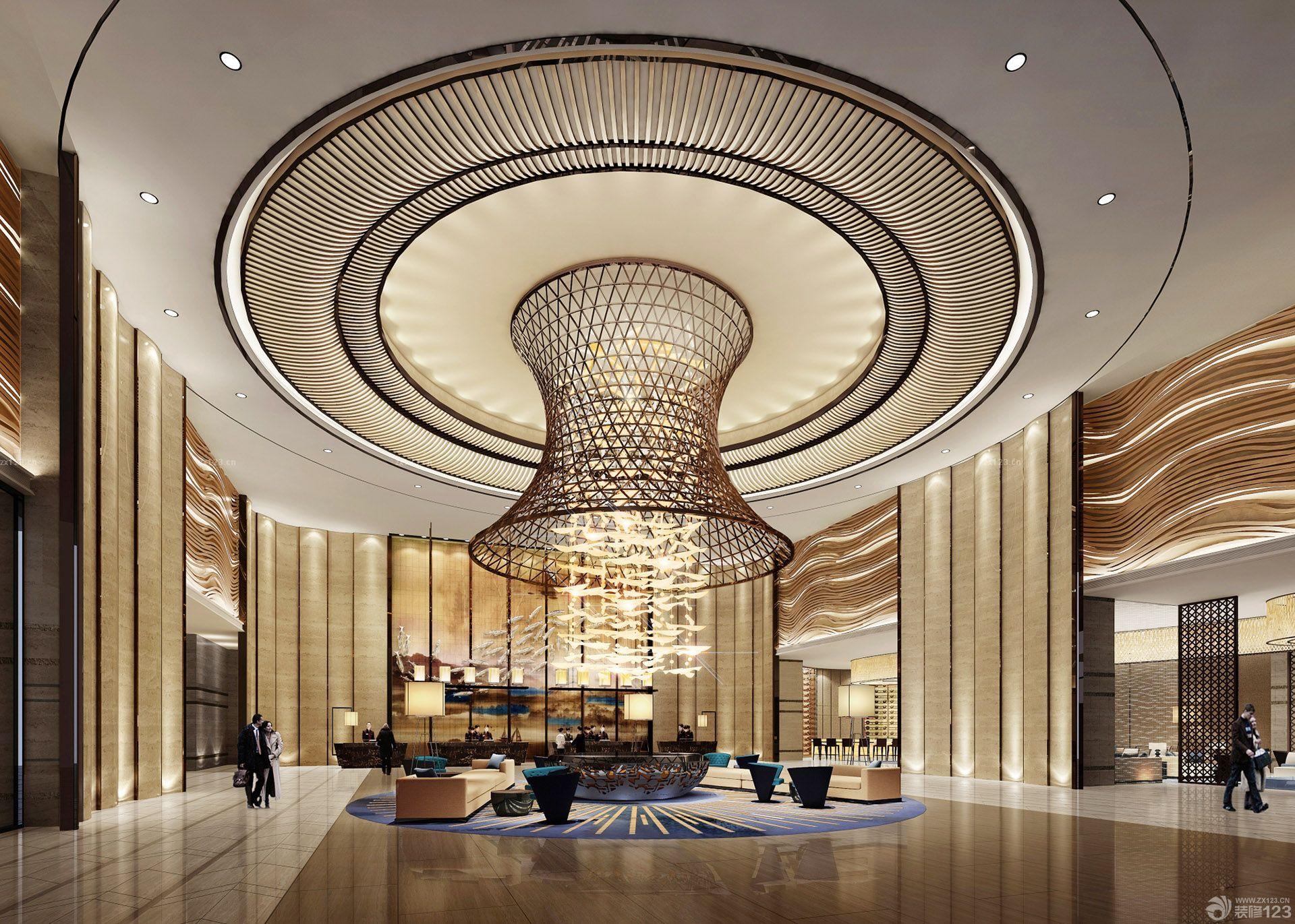 豪华酒店大堂吊顶灯设计装修效果图图片