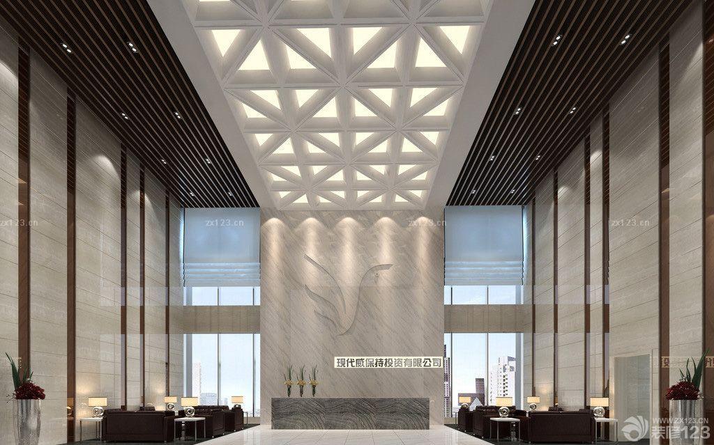 融资公司大堂logo形象墙设计装修效果图
