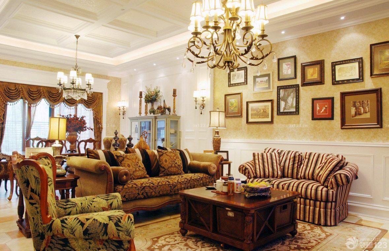 家装温馨美式田园风格客厅照片墙设计效果图