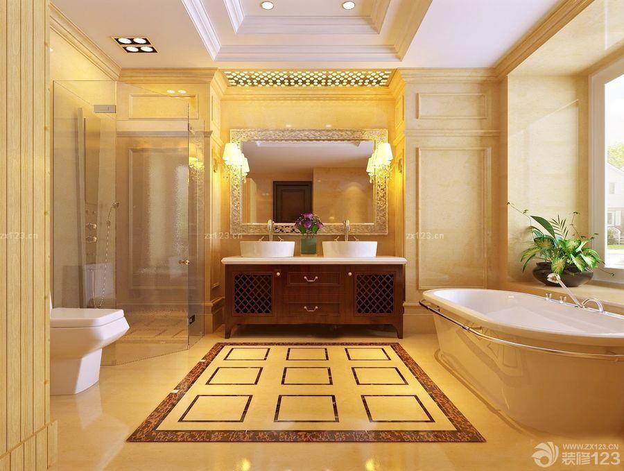 卫生间蓝色地面瓷砖装修效果图
