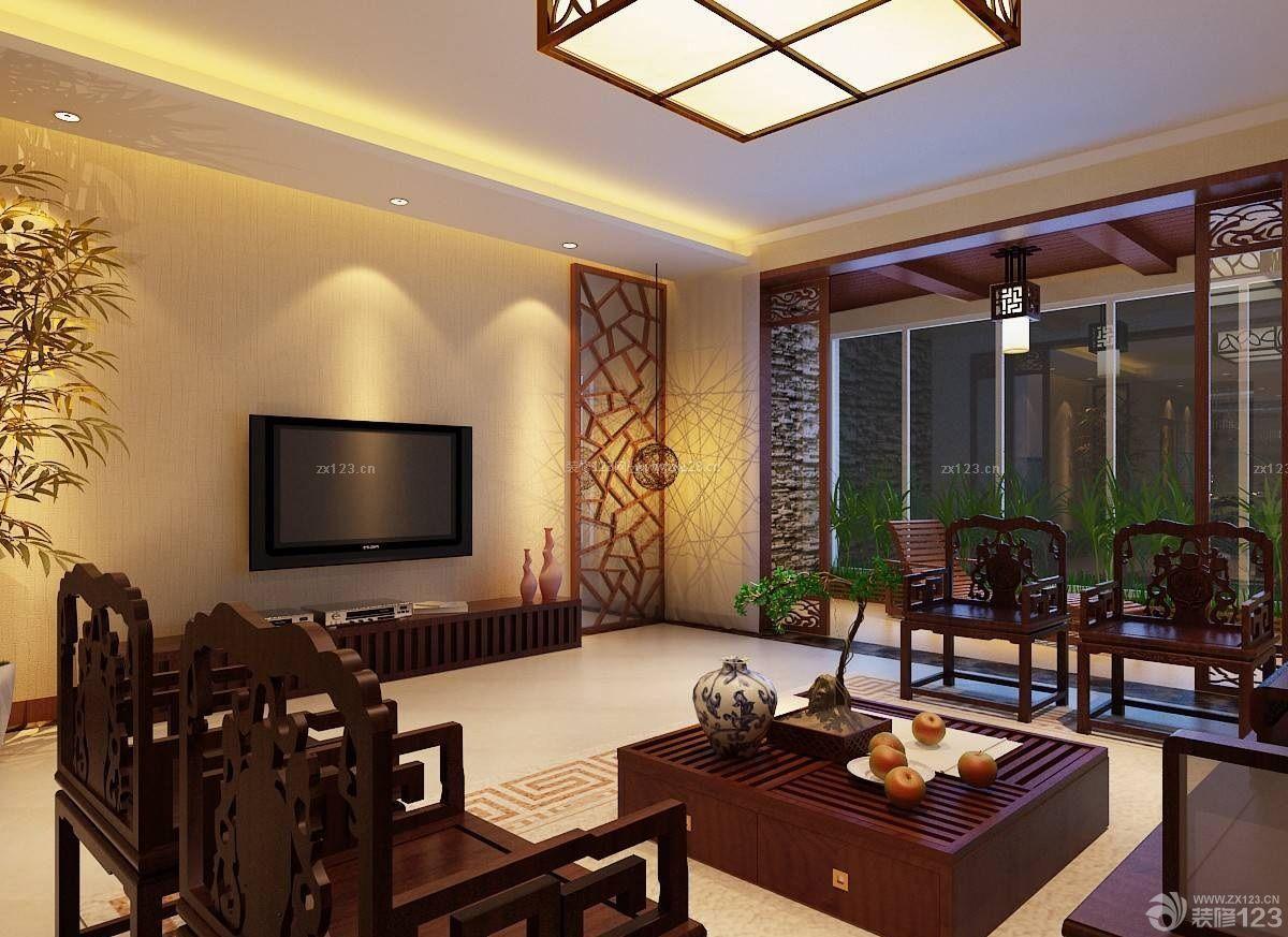 现代中式风格电视背景墙壁纸装修效果图图片