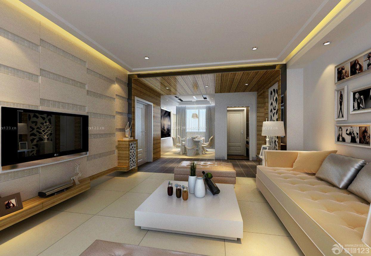 普通家庭客厅白色茶几装修设计图