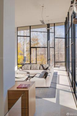 簡約別墅陽光房玻璃落地窗裝修實景圖