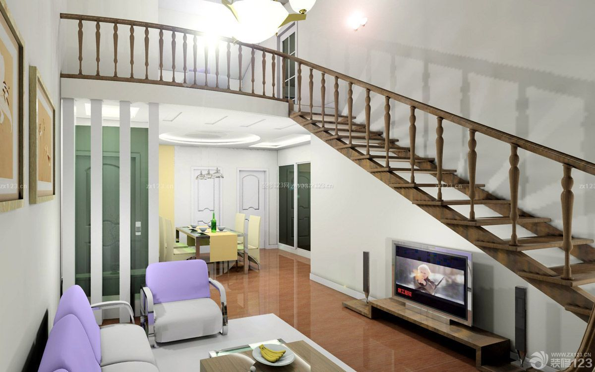 70平米带阁楼装修木楼梯装修设计图