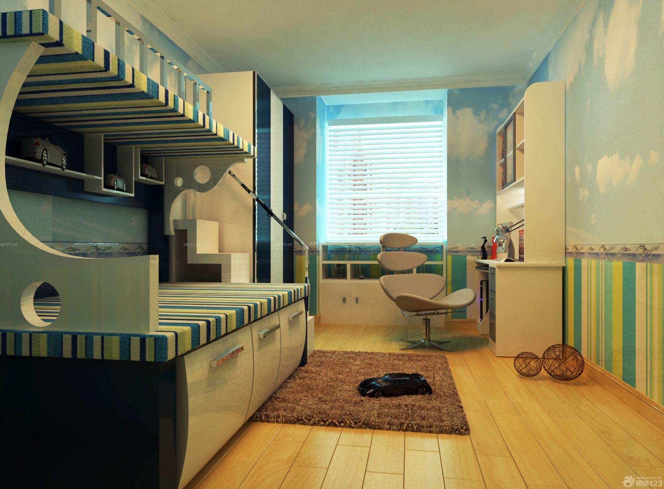 现代风格小卧室地毯设计图_装修123效果图