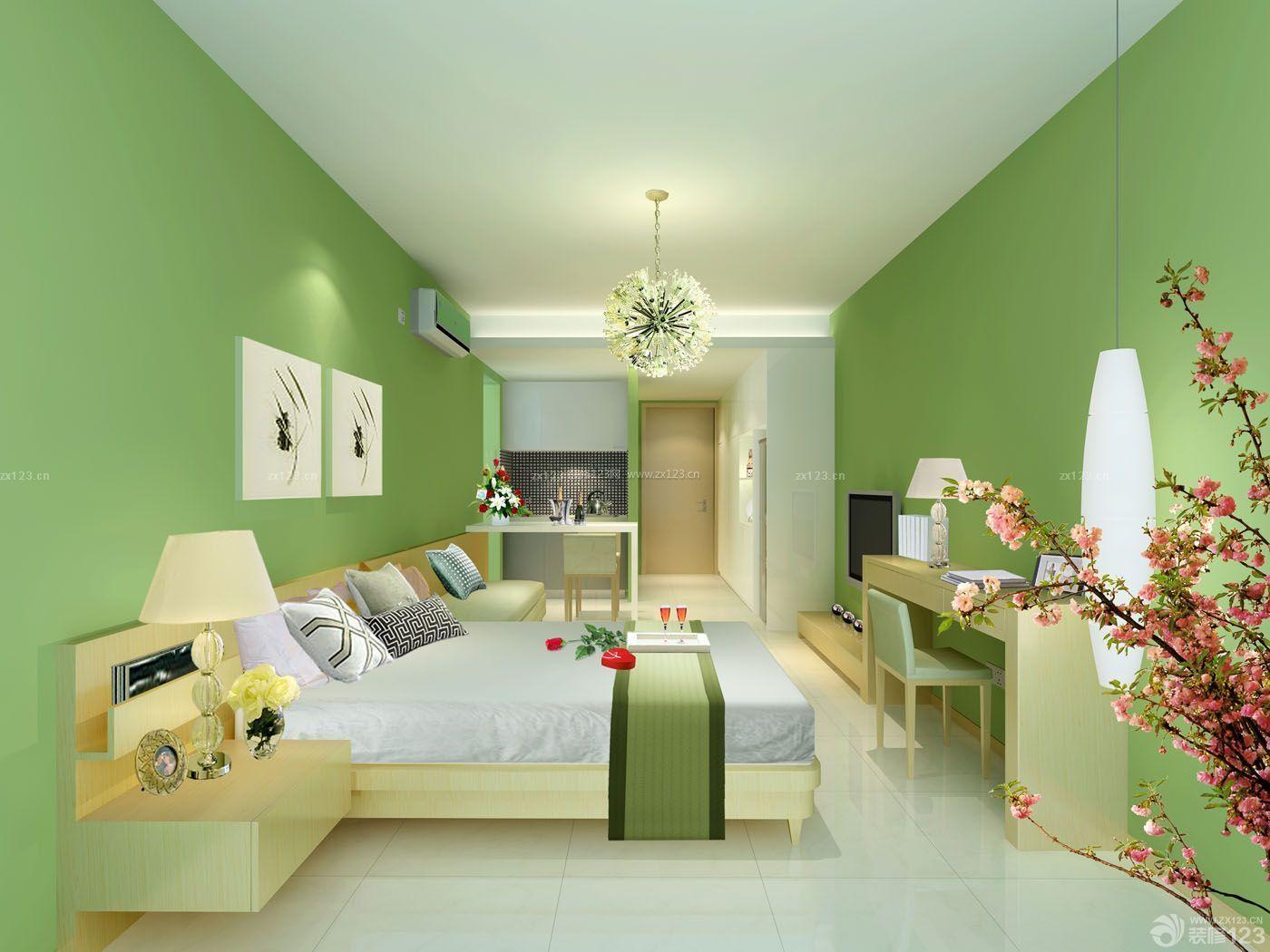 70-80平方小户型绿色墙面装修效果图图片