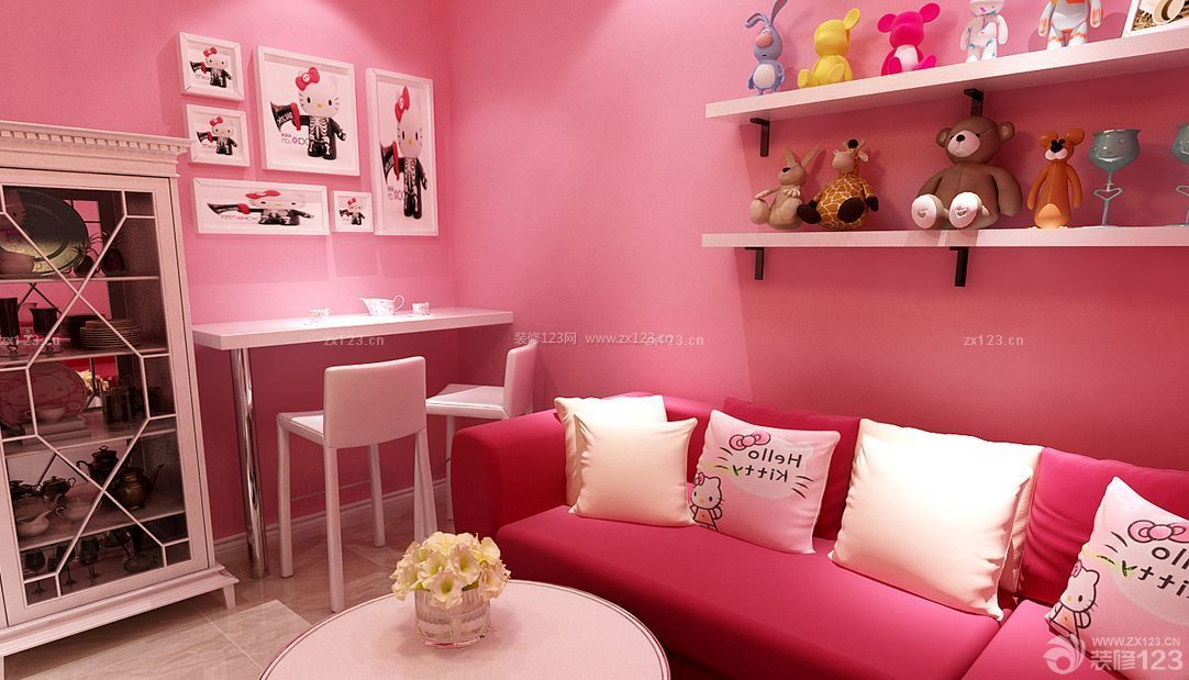 温馨60平米房屋装修设计图粉色墙面装修