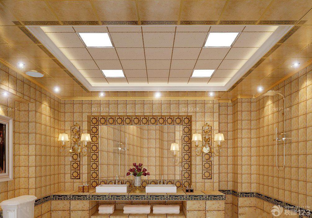 欧式复古铝扣天花板整体浴室设计效果图