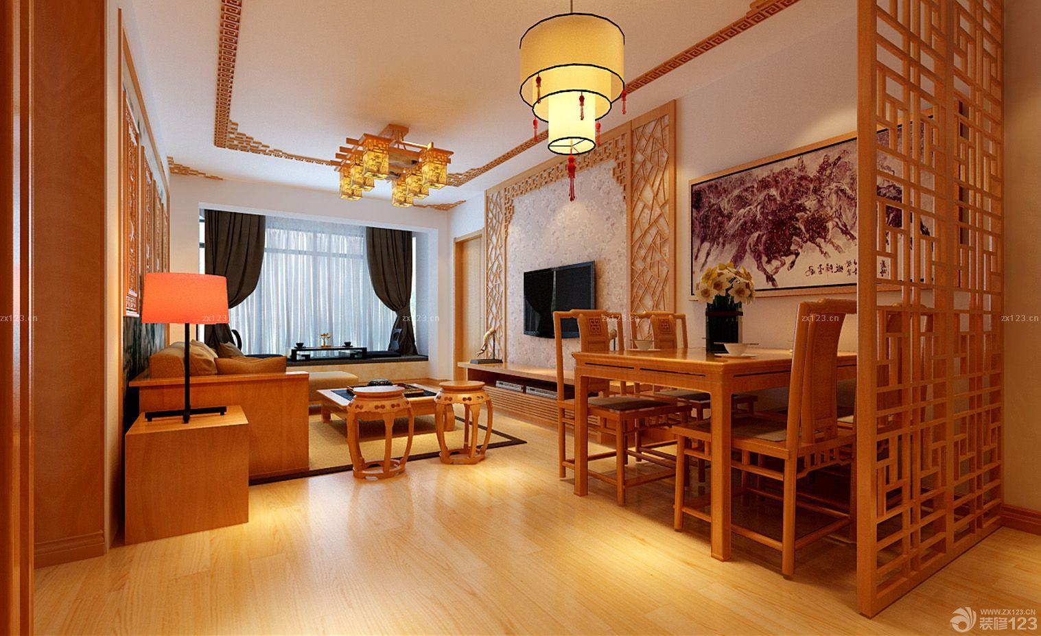 80-90平米二室一厅中式装修效果图