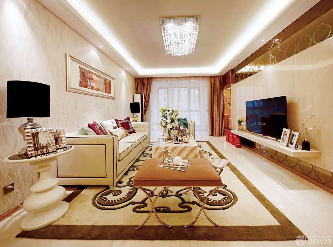 室内欧式风格两室一厅装修样板房图片