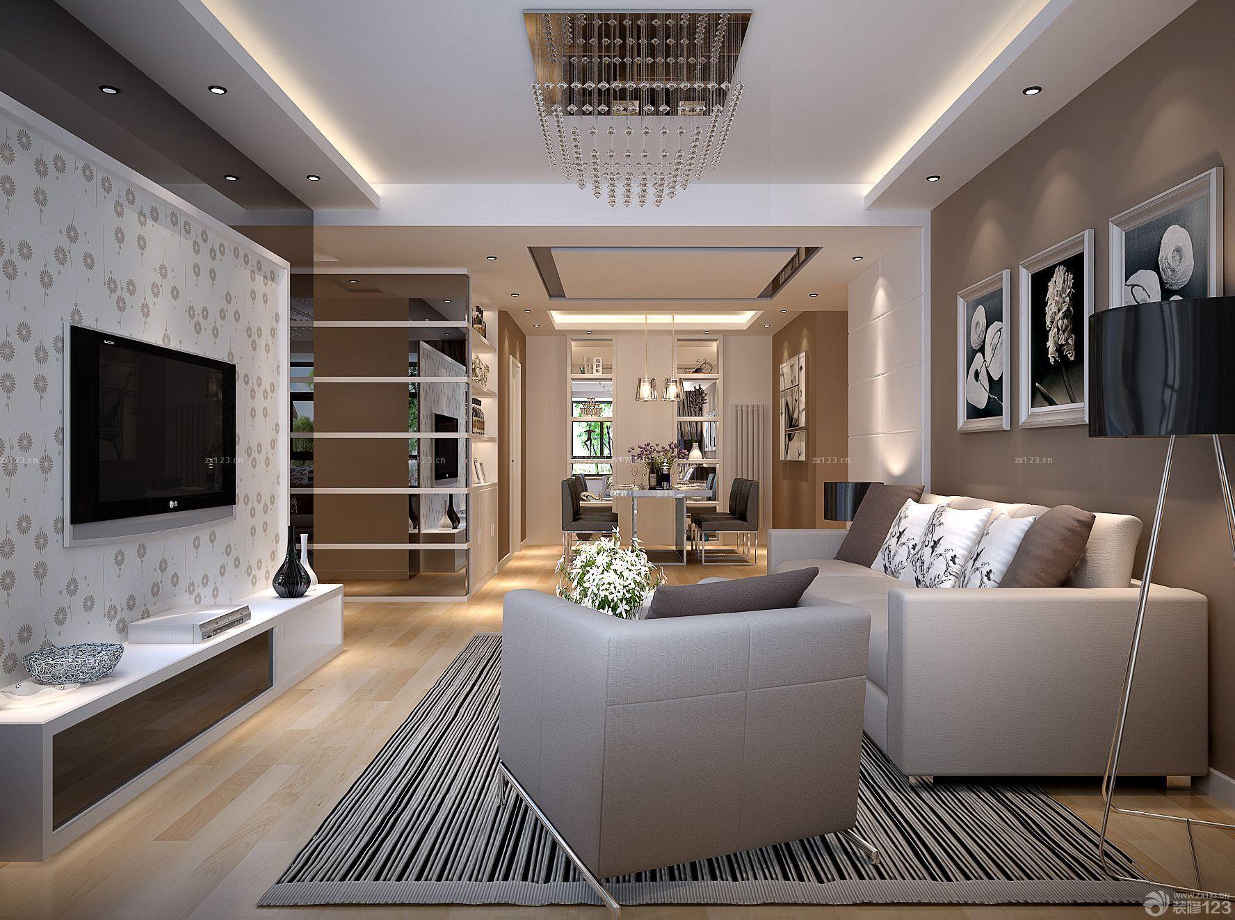 80平家庭客厅电视墙壁纸装修效果图