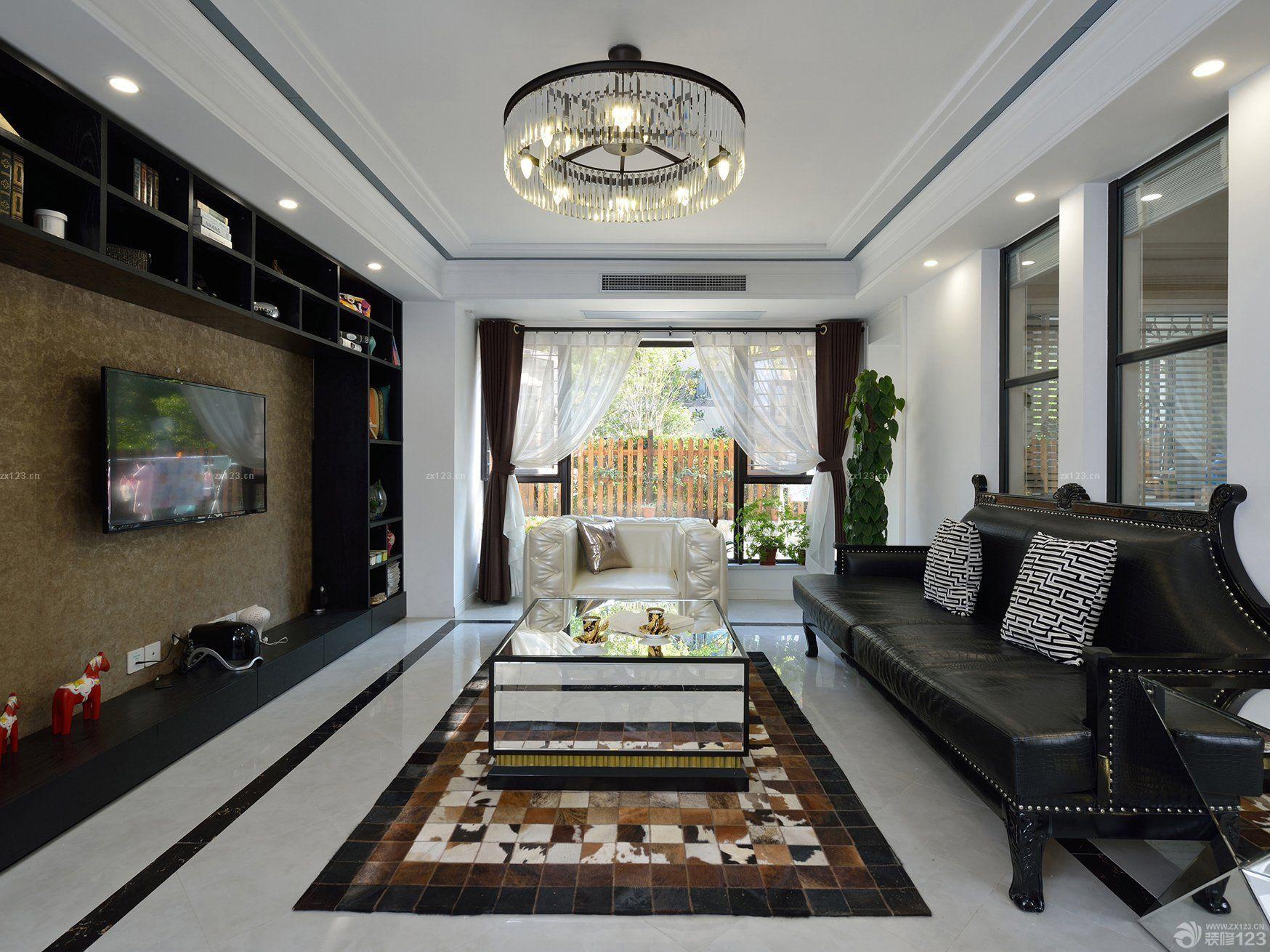 最新80-90平米房屋客厅电视背景墙装修案例