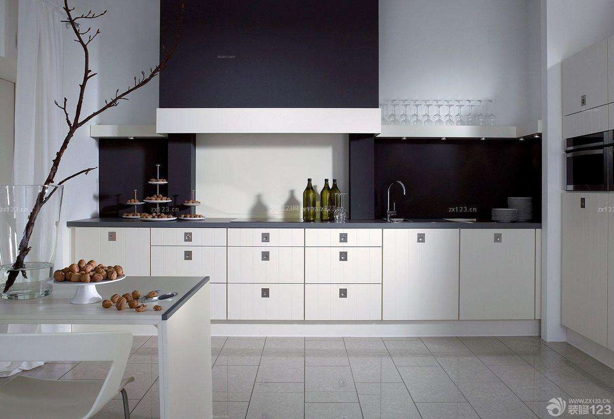 简约黑白风格厨房地面瓷砖铺贴效果图图片