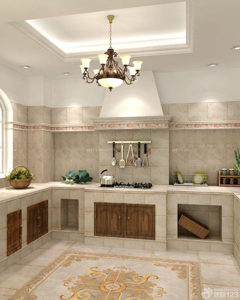 简约欧式风格厨房地面瓷砖拼花效果图