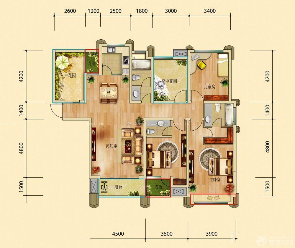 宽敞120平米三室一厅房屋平面图_装修123效果图