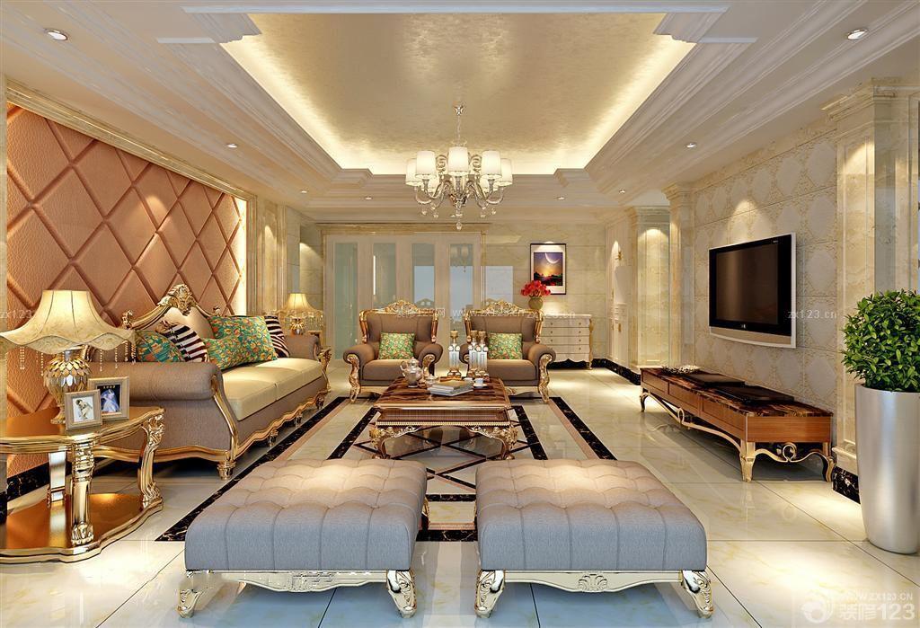 精致楼房120平房子客厅装修图_装修123效果图