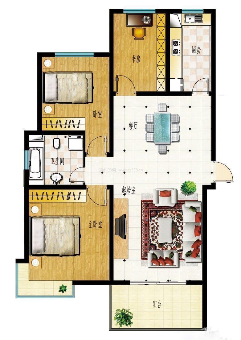 房屋设计图三室一厅长方形户型图_装修123效 600x530 - 46kb - jpeg