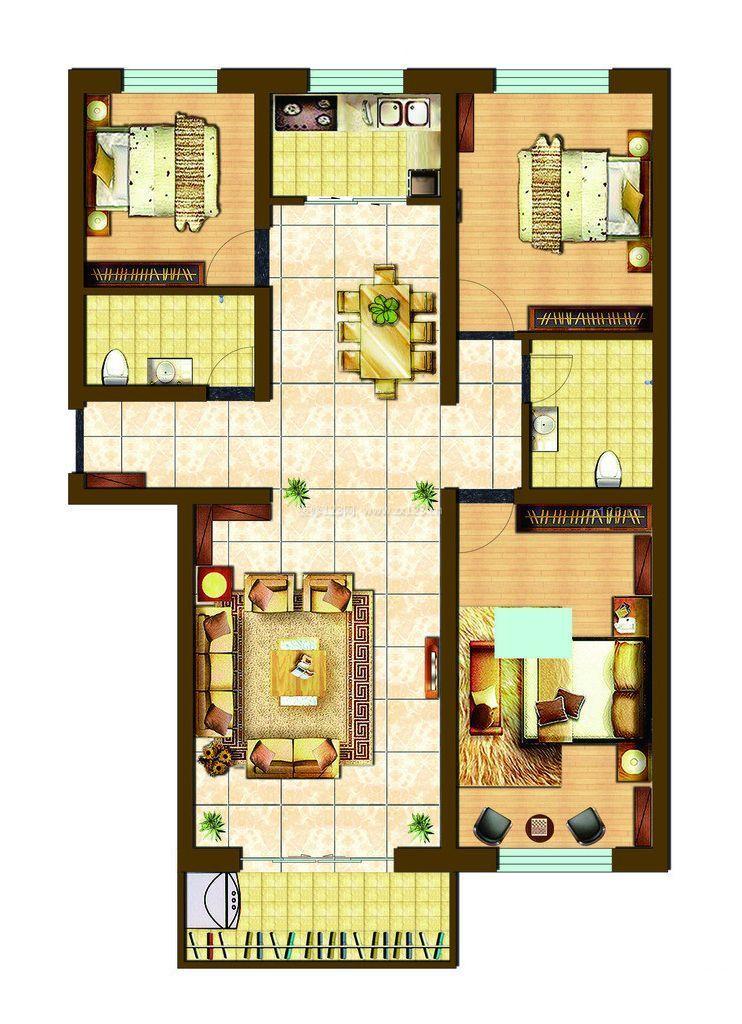 三室一厅房建设计图展示图片