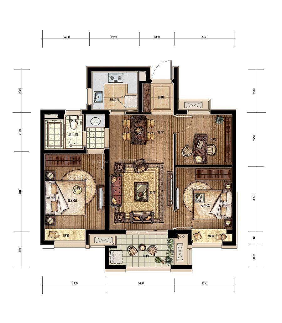 120平米三室一厅户型图_120平方房子设计图